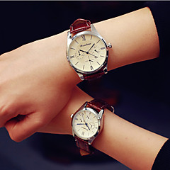 preiswerte Armbanduhren für Paare-Herrn Damen Paar Quartz Armbanduhr Kalender PU Band Charme Modisch Schwarz Weiß