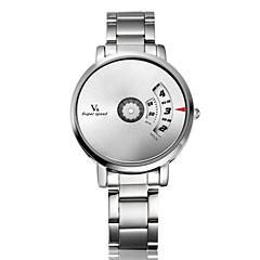 preiswerte Herrenuhren-V6 Herrn Quartz Armbanduhr Schlussverkauf Edelstahl Band Charme Einzigartige kreative Uhr Silber