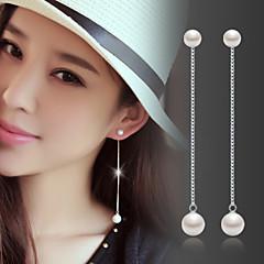 Damskie Kolczyki wiszące Perła Kamienie zodiakalne Modny biżuteria kostiumowa Perłowy Srebro standardowe Biżuteria Na Ślub Impreza