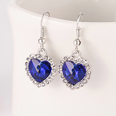 preiswerte Ohrringe-Damen Kristall Tropfen-Ohrringe - Krystall Herz Grün / Blau / Rosa Für Hochzeit / Party / Alltag
