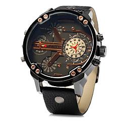 お買い得  大特価腕時計-JUBAOLI 男性用 リストウォッチ クォーツ カレンダー 2タイムゾーン レザー バンド ハンズ ブラック / ブラウン - ブラック イエロー Brown