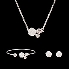 Dames Sieraden Set Bloemenstijl Bloemen Modieus Bloemen  Gesimuleerde diamant Bloemvorm Oorbellen Ketting Armband Voor Feest Speciale
