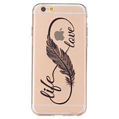 Недорогие Кейсы для iPhone 7 Plus-Назначение iPhone 6 iPhone 6 Plus Чехлы панели Прозрачный Задняя крышка Кейс для  Перья Мягкий Термопластик для iPhone 7 Plus iPhone 7