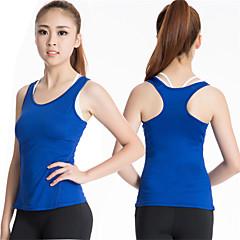 Mulheres Regata para Esportes Sem Manga Secagem Rápida Compressão Malha Íntima Blusas para Ioga Exercício e Atividade Física Corrida