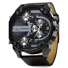 cheap Watch Deals-Men's Quartz Wrist Watch Military Watch Three Time Zones Dual Time Zones Leather Band Luxury Black