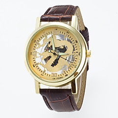 Women's Skeleton Watch Fashion Watch Quartz Hollow Engraving PU Band Black Brown