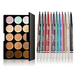 15 kleuren contour gezichtscrème make-up concealer palet + 12 stuks kleurrijke oogschaduw langdurige eyeliner