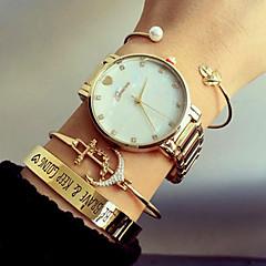 Жен. Модные часы Часы-браслет Кварцевый Нержавеющая сталь Группа Роскошь Heart Shape Серебристый металл Золотистый Розовое золото