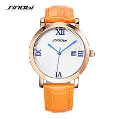 tanie Promocje zegarków-SINOBI Damskie Do sukni/garnituru Kwarcowy Kalendarz Chronograf Wodoszczelny Skóra Pasmo Luksusowy Pomarańczowy