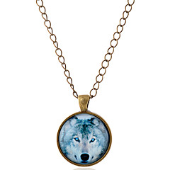 cheap Necklaces-Men's Women's Pendant Necklace  -  Simple Style Wolf Animal Silver Bronze Necklace For Party Daily Casual