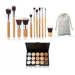 11pc bamboe handvat en nylon haar cosmetische make-up borstel set en 15 kleuren concealer