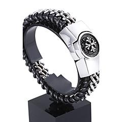 Муж. Кожаные браслеты Нержавеющая сталь Кожа Любовь A B C Бижутерия 1шт