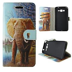 For Samsung Galaxy etui Kortholder Pung Med stativ Flip Etui Heldækkende Etui Elefant Kunstlæder for Samsung Trend Duos J5 J1 Grand Prime