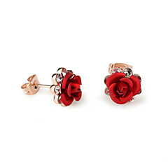 preiswerte Ohrringe-Damen Kristall Ohrstecker - Kubikzirkonia Rosen, Blume Purpur / Rot / Blau Für
