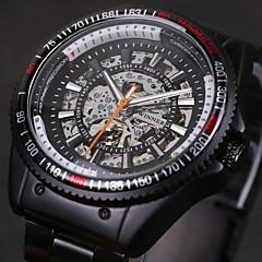 WINNER Męskie Zegarek na nadgarstek zegarek mechaniczny Nakręcanie automatyczne Grawerowane Stal nierdzewna Pasmo Czarny White Black