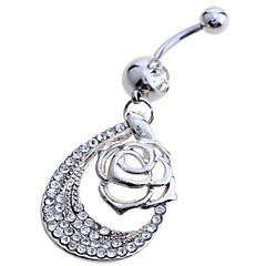 お買い得  へそピアス-女性 ボディジュエリー へそボタンリング 純銀製 模造ダイヤモンド ホワイト ジュエリー 日常 カジュアル 1個