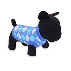お買い得  犬用ウェア&アクセサリー-ネコ 犬 Tシャツ 犬用ウェア 格子柄 レッド ブルー コットン コスチューム ペット用 男性用 女性用 ファッション