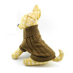 お買い得  犬用ウェア&アクセサリー-ネコ 犬 セーター 犬用ウェア ソリッド Brown ウール コスチューム ペット用 男性用 女性用