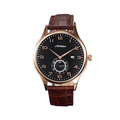 お買い得  メンズ腕時計-SINOBI 男性用 リストウォッチ カレンダー / 耐水 / スポーツウォッチ ローズゴールドめっき / レザー バンド ぜいたく ブラウン