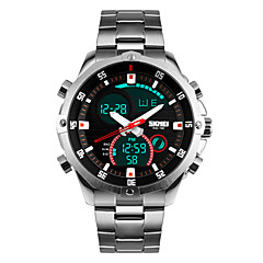 お買い得  大特価腕時計-男性用 リストウォッチ クォーツ 30 m 耐水 アラーム カレンダー ステンレス バンド アナログ/デジタル シルバー - シルバー / クロノグラフ付き / LED / 2タイムゾーン