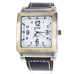 preiswerte Tolle Angebote auf Uhren-Herrn Armbanduhr Quartz Armbanduhren für den Alltag PU Band Analog Schwarz - Schwarz / weiss Schwarz