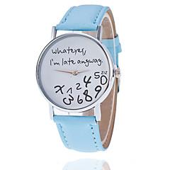 preiswerte Damenuhren-Damen Armbanduhr Quartz Armbanduhren für den Alltag PU Band Analog Modisch Uhr mit Wörtern Schwarz / Weiß / Rot - Grün Hellblau Wassermelone