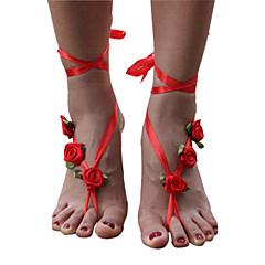 Kadın Ayak bileziği/Bilezikler Kumaş Eşsiz Tasarım Çiçek Stili Çiçekler Moda Çiçekli minimalist tarzı Flower Shape Mücevher Mücevher