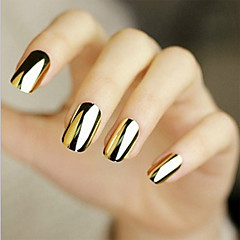 48pcs etiqueta manicura plata del oro calcomanía pegado de metal negro