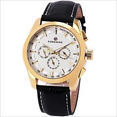 Χαμηλού Κόστους Προσφορές σε ρολόγια-Ανδρικά μηχανικό ρολόι Ρολόι Καρπού Διάφανο Ρολόι Χαλαζίας Εσωτερικού Μηχανισμού Δέρμα Μπάντα Φυλαχτό Μαύρο