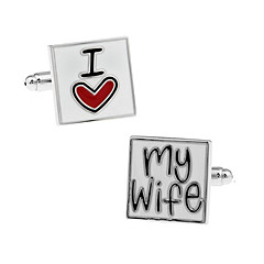 Men's Fashion I Love My Wife Silver Alloy French Shirt Cufflinks (1-Pair) Jewelry