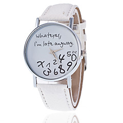 お買い得  レディース腕時計-女性用 クォーツ カジュアルウォッチ PU バンド ワードダイアル腕時計 ファッション ブラック 白 レッド ブラウン グレー カーキ