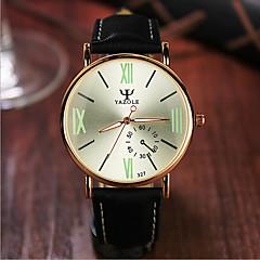 お買い得  大特価腕時計-YAZOLE 男性用 女性用 カップル用 リストウォッチ クォーツ 30 m 耐水 レザー バンド ハンズ チャーム ファッション ブラック / カーキ - ブラックとホワイト ブラック / グリーン ブラックとブルー
