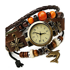Women's Alloy Leather Handcrafted Vintage Bracelet Table Wrist Watch Strap Watch