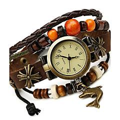 tanie Zegarki na bransoletce-Damskie Zegarek na bransoletce Modny Cyfrowe Na codzień Skóra Pasmo Artystyczny Brązowy