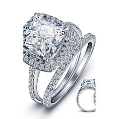 Damskie Obrączki Modny Kamienie zodiakalne biżuteria kostiumowa Srebro standardowe Square Shape Biżuteria Na Ślub Impreza Casual