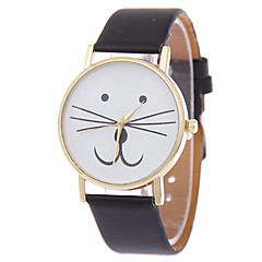 Dames Modieus horloge Armbandhorloge Kwarts Kat PU Band Cartoon Zwart Wit Blauw Rood Bruin Roze