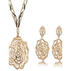 Набор украшений Свадебные комплекты ювелирных изделий Кристалл Камни по месяцу рождения Хрусталь В форме цветка Роуз Серебряный Золотой