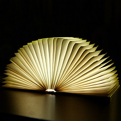 Creative Flip Book Page Warm White LED Nightlight Novel Folding Books USB Bed Lamp