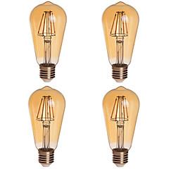 preiswerte LED-Birnen-KWB 4pcs 2200lm E26 / E27 LED Kugelbirnen ST64 4 LED-Perlen COB Abblendbar Dekorativ Warmes Weiß 85-265V
