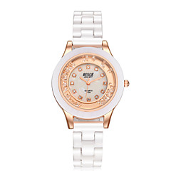 Damskie Modny Sztuczny Diamant Zegarek Kwarcowy Wodoszczelny Na codzień sztuczna Diament Ceramiczny Pasmo Elegancki Biały