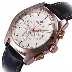 Męskie Szkieletowy Zegarek na nadgarstek zegarek mechaniczny Grawerowane Nakręcanie automatyczne Skóra Pasmo Czarny