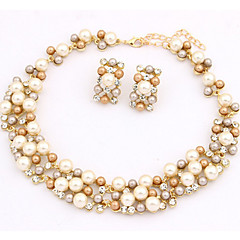 cheap Multicolor Pearl Collection-Women's Pearl Jewelry Set - Pearl, Imitation Pearl, Gold Pearl European Include Necklace / Earrings White / Rainbow For Party / Daily / Casual