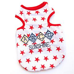 tanie Ubranka i akcesoria dla psów-Koty / Psy T-shirt Red / Niebieski Ubrania dla psów Lato Litera i numer Modny
