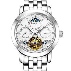 お買い得  メンズ腕時計-Carnival 男性用 スケルトン腕時計 機械式時計 自動巻き 30 m 透かし加工 夜光計 ムーンフェイズ ステンレス バンド ハンズ カジュアル 白 - ホワイト