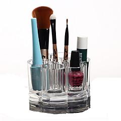 Make-up opbergsysteem Make-updoos / Make-up opbergsysteem Kunststof / Acryl Effen Rond 9.2x9.2x5.9 Oranjegeel