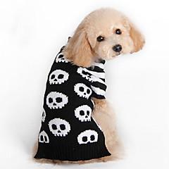 お買い得  犬用ウェア&アクセサリー-ネコ 犬 セーター 犬用ウェア スカル ブラック ウール コスチューム ペット用 男性用 女性用 ファッション ハロウィーン