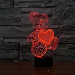 만화 귀여운 심장 곰 모양 주도 램프 차원 아기 야간 조명