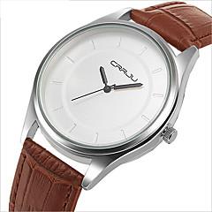 Masculino Relógio de Moda Quartzo Impermeável Relógio Casual Couro Banda Preta Marrom Branco Preto Marron Marron/Branco