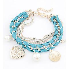 お買い得  ブレスレット-女性用 真珠 チャームブレスレット - 人造真珠 ハート ファッション ブレスレット ベージュ / ピンク / ライトブルー 用途 日常