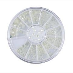 3 dimensiuni unghii alb perlat roată decorare stras